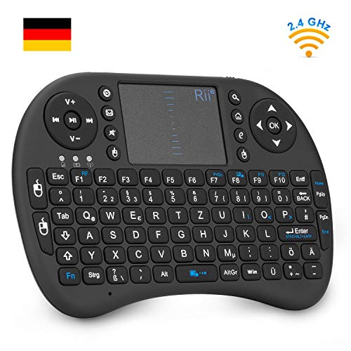 Rii i8 Mini Tastatur Wireless, Mini Tastatur Kabellos mit Touchpad, 2.4 GHz Mini Wireless Keyboard für Smart TV, Raspberry Pi,HTPC,IPTV,Android TV-Box,XBOX360,PS3,PC,Linux,Windows 2000 XP Vista 7 8 (92 Keys DE QWERTZ)