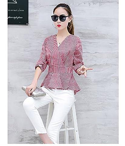 WeLove Women V Plaid Shirt à manches longues V Collar