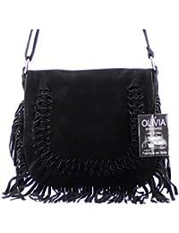 Olivia - Joli sac à main/bandoulière en cuir à franges N1248 Noir - Noir, Cuir