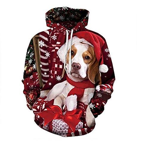 YYHSO Modisch Pullover Hoodie Zum Paare Weihnachtsgeschenke HD 3D bedruckt Hund Beiläufig Taschen Lange Ärmel Jungen Mädchen Kinder Sweatshirts (S M L XL 2XL 3XL) , Christmas puppy , (M Und S Christmas Jumper)