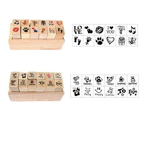 SwirlColor Holz Stempel-Set 24 Arten Korea DIY Verholzung Stempel Tagebuch Stempel Mit Box Set