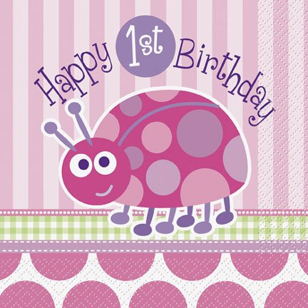 Ladybug 1St Birthday Luncheon Napkin
