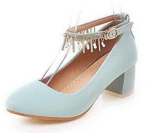 Damen Rein Blend-Materialien Mittler Absatz Rund Zehe Ziehen auf Pumps Schuhe, Schwarz, 38 VogueZone009