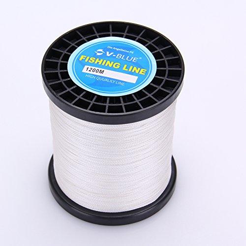 V-BLUE 1200m 70LB-0.45MM 4-fach Geflochtene Angelschnur 100% PE Premium Qualität Braided Fishing Line weiß (Premium-monofile Angelschnur)