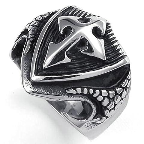 Gnzoe Jewelry,Mens Stainless Steel Rings Bands, Tribe Biker Black Cross Shield Silver Retro Size T 1/2