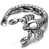 JewelryWe Gioielli Collana Orecchini Bracciale da Uomo in Acciaio Inossidabile Pendente Scorpione Colore Argento Regalo Cool