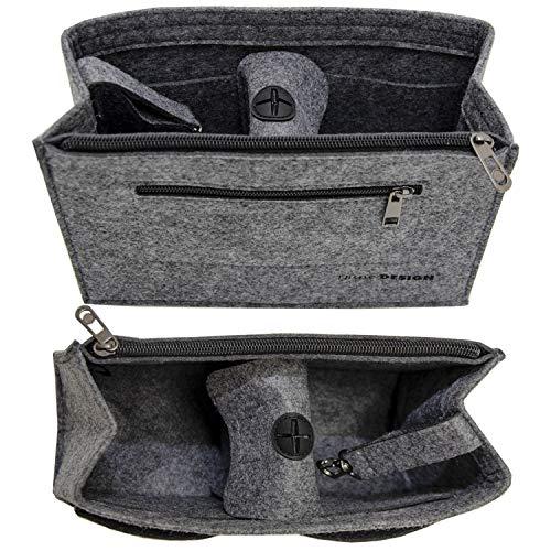 DuneDesign Handtaschen Organizer 23x10x16cm Filz Tasche Einsatz S Innentasche Grau