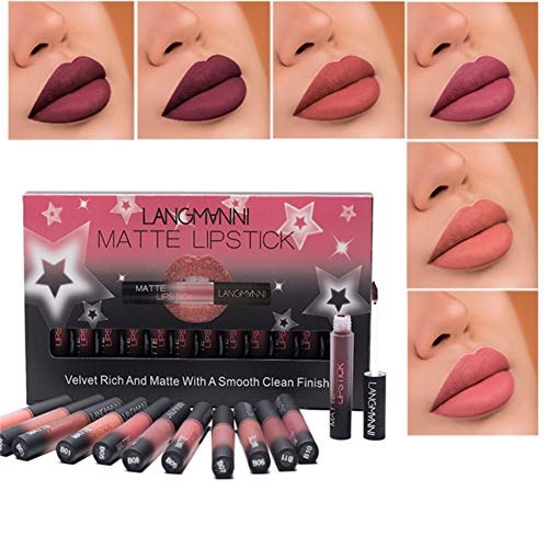 Ardorlove 12 Pcs Lips Makeup Matte Liquid Lipstick Set Moisturizing Waterproof Lasting Lip Gloss Kit (B)