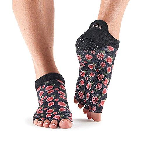 Calcetines antideslizantes ToeSox de media altura para yoga, pilates, calcetines antideslizantes de fitness - 1 par (Rosie, Medium)