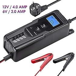 LOHOTEK 6V / 12V 4A Ladegerät/Wartung mit Kabelklemmen Reparatur Ladegerät Autobatterie für Auto-Boot-Rasenmäher Versiegelte Blei-Säure-Batterie