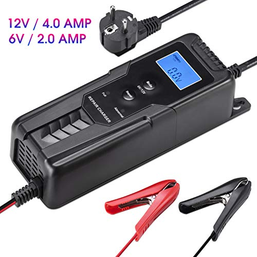 LOHOTEK 6V/12V 4A Battery Charger/Maintainer with Cable Clamps Repair Charger for Car Boat Lawn Mower Sealed Lead Acid Battery