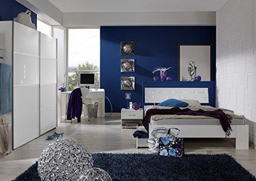 Komplett Jugendzimmer weiß Strasskristall Kinderzimmer Bett Schrank Schreibtisch - Bett, Jugend-schlafzimmer-set