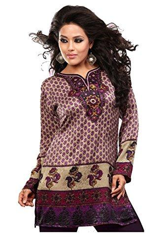Inde Tunique Kurti Femmes Imprimé Chemisier Indien Vêtements Violet