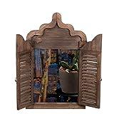 Riesiger Wandspiegel XXL BEW 246 Braun, Fensterspiegel, Spiegelfenster mit Fensterläden 64 cm hoch, Shabby-Look, Vintage Look, Antikoptik, Holz, Maritim, Deko, Hochwertig