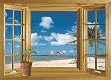 Danyoun 3D Spiaggia Grata Finestra Vista Muro Adesivi, Rimovibile Finestra Aperta Muro Murale, Vista Mare Arte Tappezzeria Murale Per Sala Da Pranzo, Camera Da Letto, Finestre