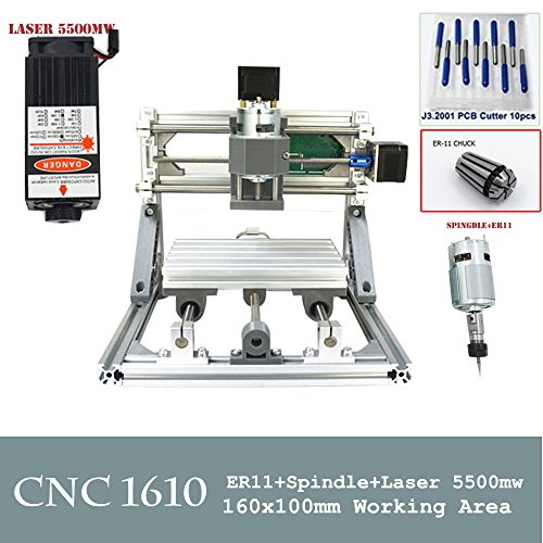 CNC 1610+ 5500MW Laser CNC Gravur Maschine PCB Fräsen Holz Router für Heimwerker Anfänger cnc1610 (Holz-laser-gravur-maschine)