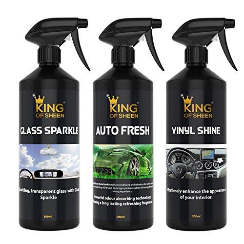King-of-Sheen-interni-auto--Kit-di-pulizia-auto-Fresh-500-ml-vinyl-Shine-500-ml-e-vetro-Sparkle-500-ml-professionale-vetro-panno-di-pulizia-e-deodorante-per-auto
