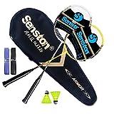 Senston Grafite Racchetta da badminton - Compreso 1 Badminton Bag/2 Badminton/2Volano/2 Grip,argento+giallo