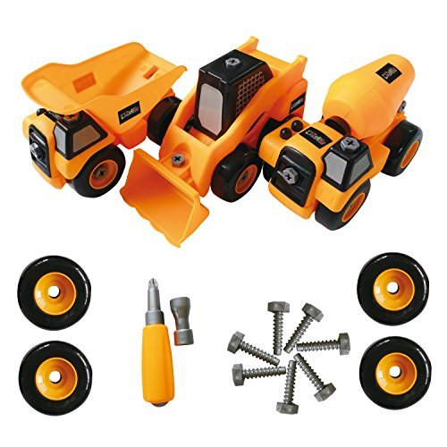 Bau-Spielzeug-LKW auseinandernehmbares Werkzeugset - Bestes Kinder Spielzeug für Jungs und Mädchen im Alter von 3 - 8 - PAKET von 3 Monster-Trucks beinhaltet einen Kipper, Betonmischer, - Monster-lkw-spielzeug Mädchen,