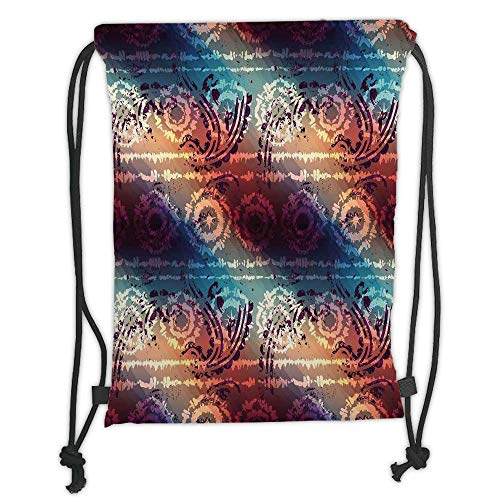 Drawstring Backpacks Bags,Batik Decor,Distressed Grungy Motif with Gradient Vibrant Colors and Modern Round Forms Artwork,Multi Soft Satin,5 Liter Capacity,Adjustable String Closur - Distressed Hobo
