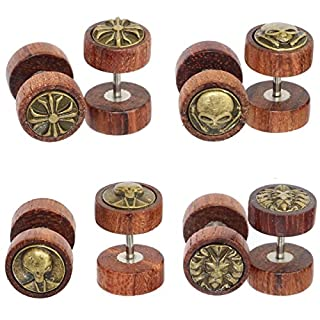 4 Pairs Stainless Steel Wood Post Earring Screw Back Ear Stud Illusion Plug for Men Women