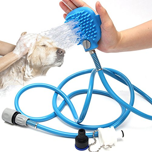 RCRuning-EU Dog Shower Sprayer, Pet Brush Tool for Bathing Grooming Massage, Adjustable Hand Held Brush and Wipes 2 in 1, for Large Medium Small Dogs Cats Outdoor Bath (2.5 m, Blue)