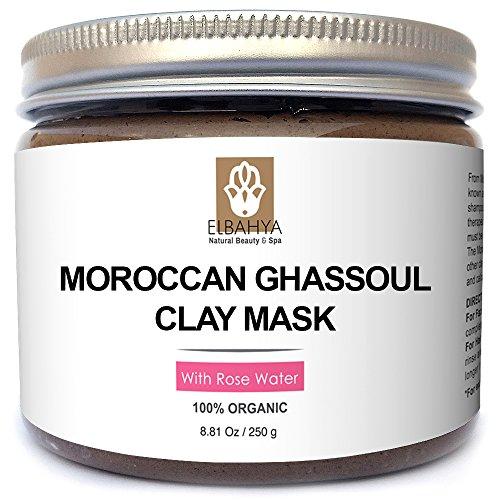 Elbahya Mascarilla De Arcilla Marroquí Ghassoul Con Rosa. Moroccan (Rhassoul) Clay Mask. Orgánica Deep Pore Limpiador Mascarilla Para el Cabello y la Cara. Viene en Paquete de regalo. 250g Con Piedra Pómez Libre Incluido