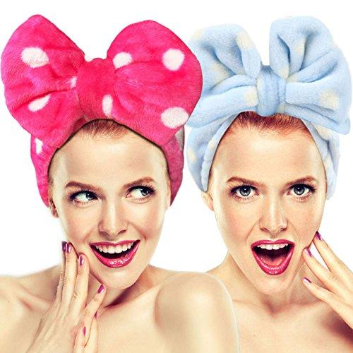 Hairizone graziosa fascia elastica per capelli con fiocco per lavare il viso. Adorabile fascia asciugamano per capelli per trucco doccia terme