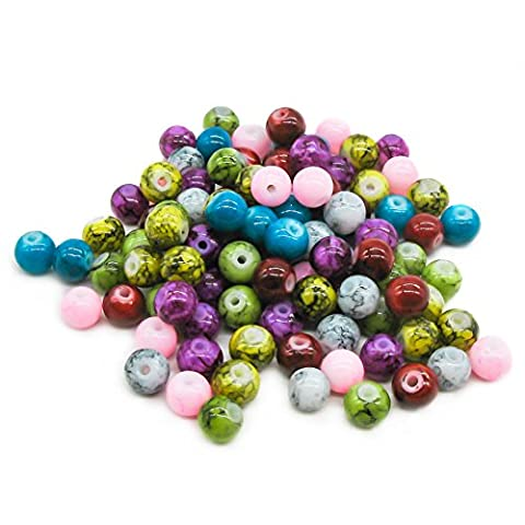 TOAOB Opaque Glass Beads 6mm round Colour Mix Pack of 100 pieces