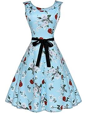 GAOLIM Señoras Con Capas De Encaje Sin Mangas, Con Cuello Redondo Cintura Vestido De Princesa, S, Azul