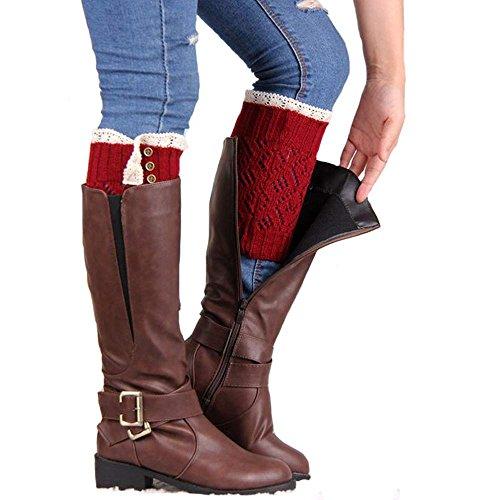 HOT SALE!Somerl Socken Strümpfe Lace Stretch Boot Beinmanschetten Boot Socken(Red,Free) -
