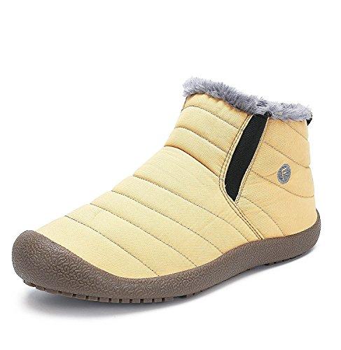 Minetom Unisex-Adulto Uomo Donna Primavera Invernali Pantofole Caldo Scarpe Impermeabili Foderate Stivali A Giallo