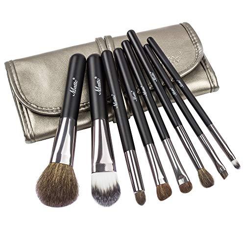 Matto, Pinceau de maquillage set de poil de chèvre, avec sac cosmétique, 8 pièces