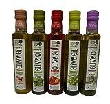 5x 250ml Flavour Olivenöl im Probier Geschenk Set Oliven Öl versetzt mit Rosmarin Chili Basilikum Oregano Knoblauch aus Griechenland + 2x 10ml Sachet Olivenöl extra nativ aus Kreta zum testen