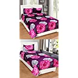 Combo Grace Cotton Bedsheet Set-1 Double Bedsheet With 2 Pillow Cover(90x90 Inches),1 Single Bedsheet With 1 Pillow Cover(90x60 Inches) From Fashion Hub™