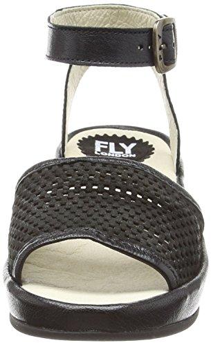 FLY London BOFY634FLY, Sandales Compensées femme Noir (Cupido Mousse Black)