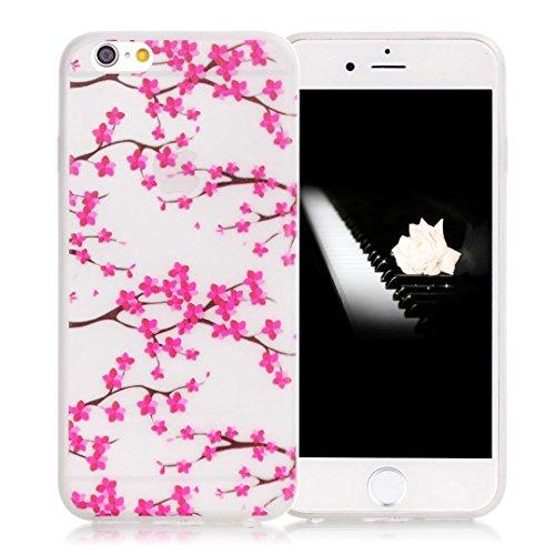 iPhone 6 Hülle, E-Lush Kreativ Design TPU Handyhülle Soft Silikon Tasche Transparent Schale für Apple iPhone 6/6s Plus(5,5 zoll) Clear Klar Hanytasche Durchsichtig Rückschale Ultra Slim Thin Dünne Sch Plum Blume