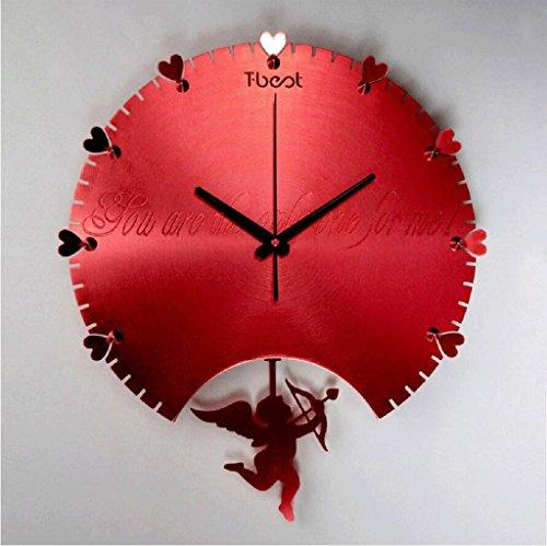 Tempo di muro incisione in metallo 3D camera da pranzo semplice ed elegante salotto orologi appesi artistico quarzo muto orologio da parete ( colore : Rosso )