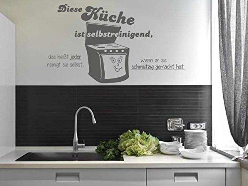 Wandtattoo-bilder® Wandtattoo Sprüche Diese Küche ist selbstreinigend Nr 2 Küchendeko Wandsticker Größe 80x45, Farbe Schwarz