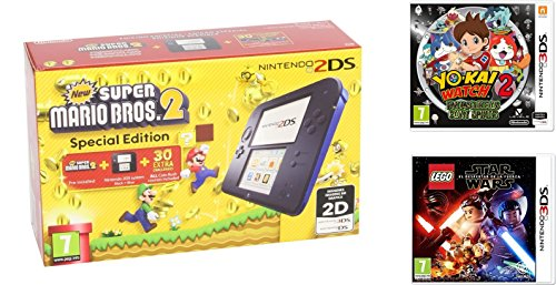 Consola Nintendo 2DS Azul + New Super Mario Bros 2 + Yo-Kai Watch 2: Fantasqueletos + LEGO Star Wars: El Despertar De La Fuerza