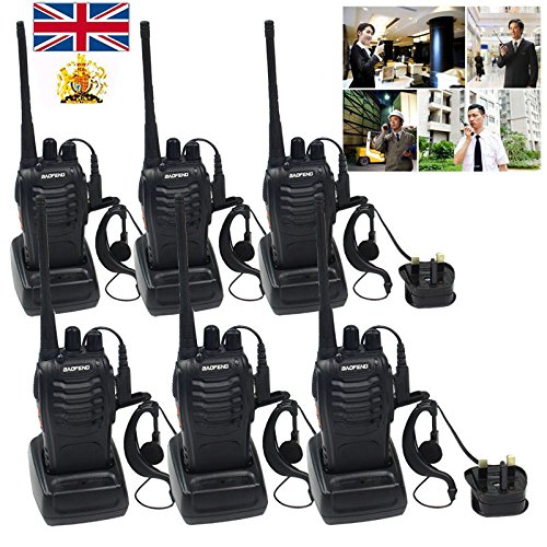 Ammiy® 6 PCS BaoFeng Walkie Talkie BF-888S 5W 2-Way Radio 16CH Signal Band UHF 400-470MHz 1500MAH Li-ion Battery Headset Built in LED Torch Headphones Earphones UK Plug Rechargeable