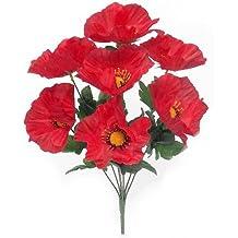 2x 38cm seda Artificial rojo amapola Bush–8grandes flores cabezas cada–Home/cottage GArden tumba
