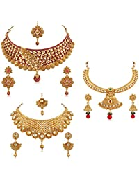PALASH Glittering Gold Plated Choker Bridal Necklaces Set With Multi-Color Stones, Kundan And Meenakari For Women...