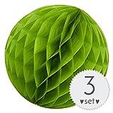 Simplydeko Wabenbälle Apfel-Grün - Honeycomb Lampions für Party und Hochzeit - 3er Set Handgefertigte Papierkugeln (Apfel-Grün, 30 cm)