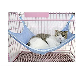 akldigital Cat Kitten Animal Summer Mesh Breathable Hammock Hanging Pad Bed Cool Cage For Pet Sleeping or Napping, Blue Color (Large)