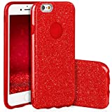 QULT Custodia Compatibile con iPhone 6 iPhone 6S Сover Silicone Rosso Glitter Gel Brillantini Anti-Scratch Protettivo Bumper Case per iPhone 6/6S Red