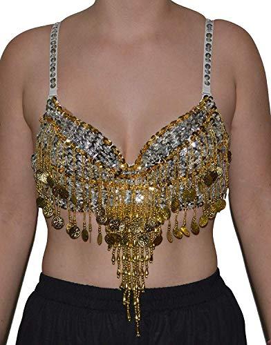 Bauchtanz BH Oberteil Top Belly Dance Perlen Pailletten Karneval Oriental Tanz (Silber) - Silber Pailletten-bh