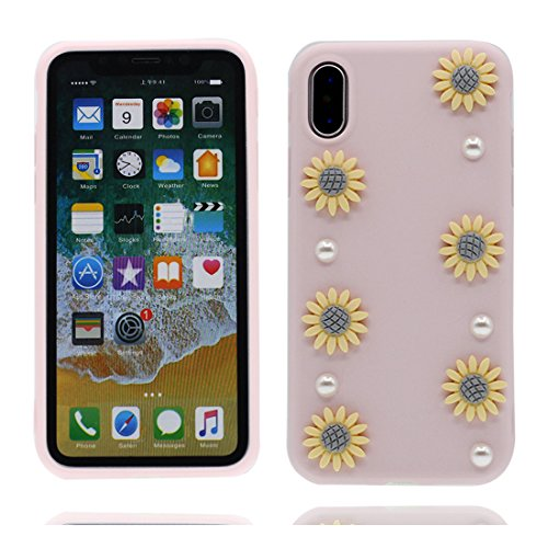 iPhone X Custodia, iPhone 10 Copertura Crystal Case gel trasparente [Slim-Fit] [Anti-Scratch] [assorbimento di scossa] [Supporta la ricarica wireless] iPhone X Copertura (Rosa fiore) # 2