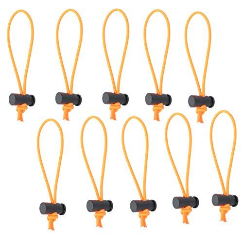 Foto & ER Tech 10Mehrzweck Extra Dick Krawatte/Kabelbinder und Organizer/verstellbarem Peitschen/elastische Schlaufe/sofort unübersichtlich Killer/Tangle Tamer/Kabel-Management für Kordel & Kabel wiederverwendbar (orange) (Draht-schlaufen)