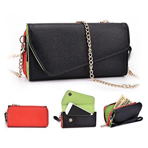 Kroo d'embrayage portefeuille avec dragonne et sangle bandoulière pour Alcatel POP D1Smartphone Black and Orange Noir/rouge